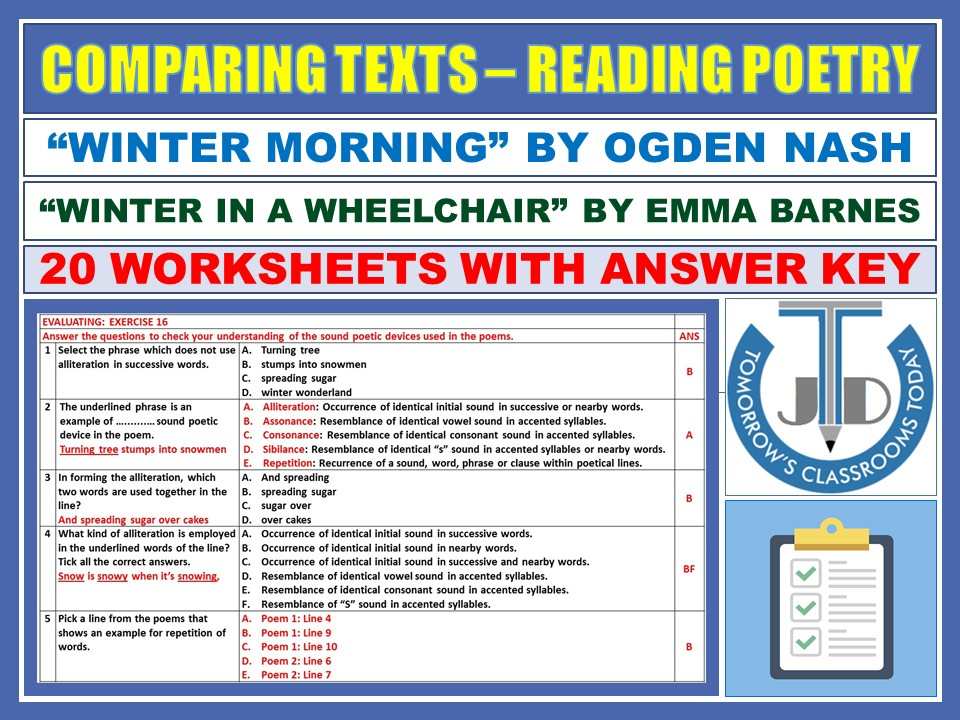 COMPARING WINTER POEMS - READING POETRY: 20 WORKSHEETS WITH ANSWER KEY
