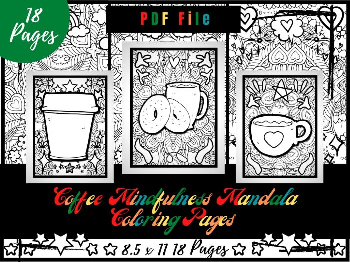 Coffee Mindfulness Mandala Colouring Pages, Morning Coffee Colouring Printable PDF