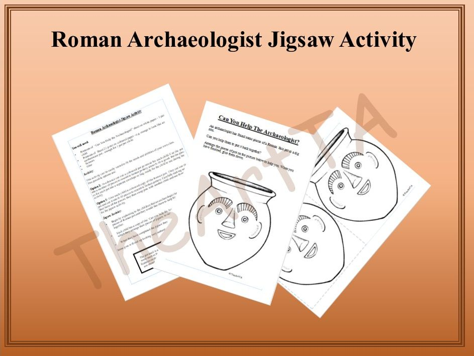 Roman archaeologist jigsaw activity