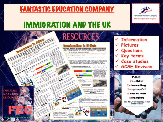 Immigration in the UK Teaching Handout Revision Map