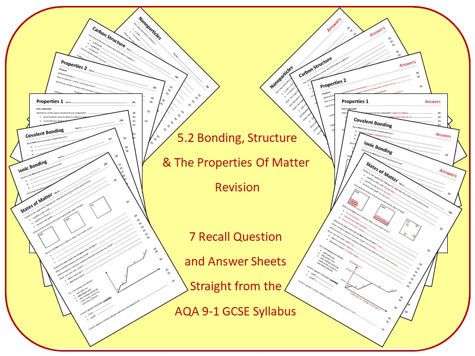 Topic 2: Bonding, Structure and Properties Revision Questions and Answer Sheets (inc Triple)