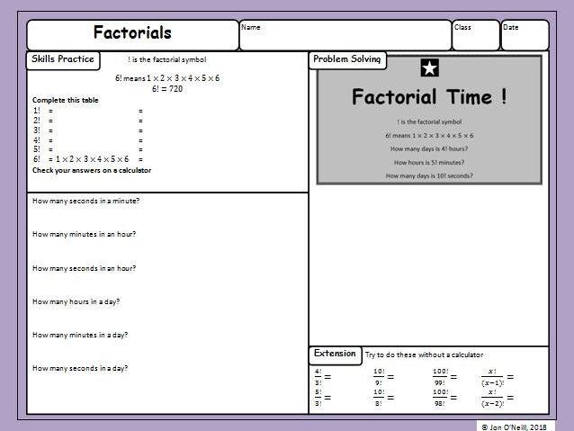 Maths Enrichment Activity - Factorials