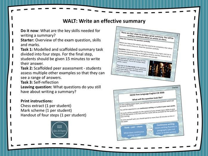 Cambridge IGCSE 0500 - Writing a summary (paper 1)