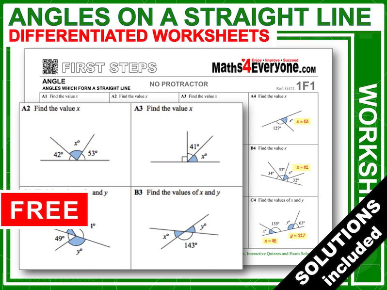 Angles on a Straight Line (Worksheets with Answers)