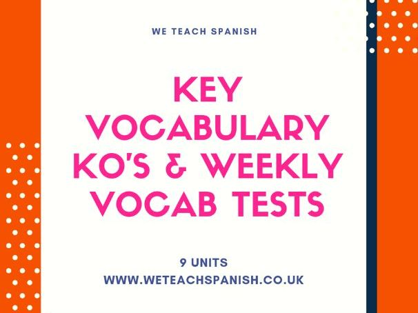 GCSE Key Vocab KO's & follow up vocab tests