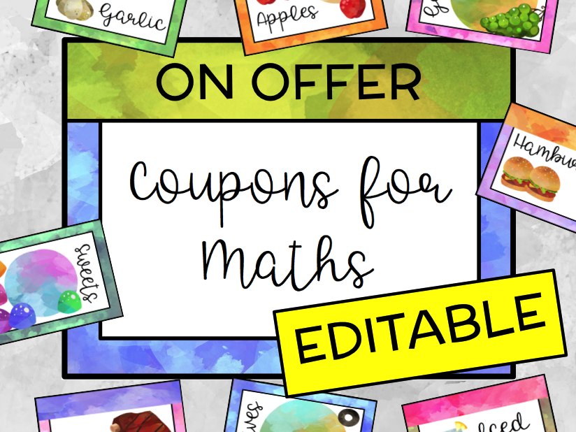 EDITABLE Digital Coupon Clipart for Problem Solving in Maths