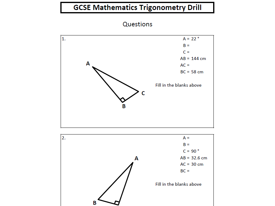 GCSE Mathematics Trigonometry Drill