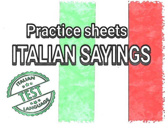 ITALIAN SAYINGS WORKSHEETS