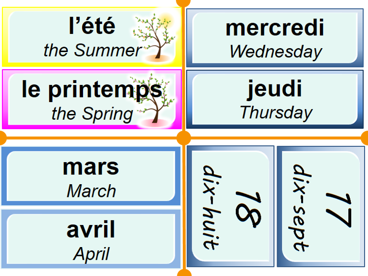 Numbers, days of the week, months and seasons (classroom displays)