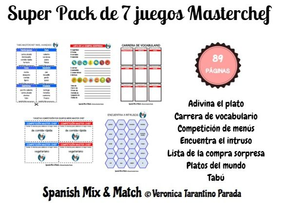 SUPER SPANISH MASTERCHEF GAME BUNDLE (food vocabulary competition)