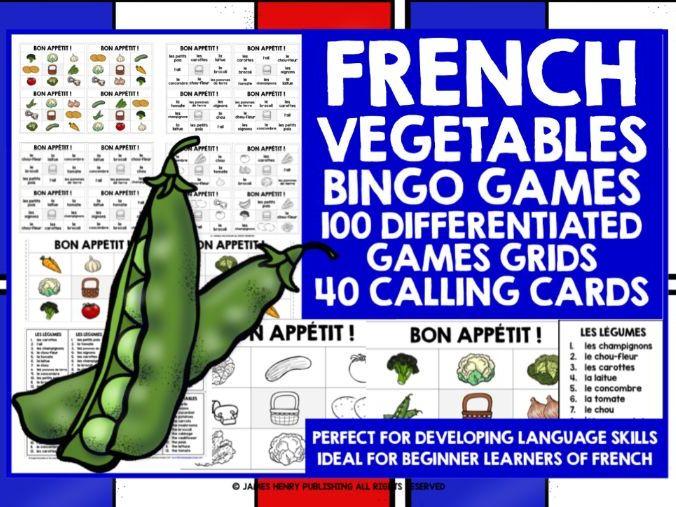 PRIMARY FRENCH VEGETABLES BINGO