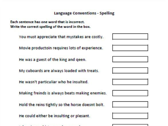 Years 7 and 9 Naplan Practice - Language Conventions - Spelling (Find Mistakes)