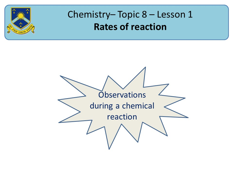 AQA 2016 New SOW Chemistry Chapter 8 Rates of reaction