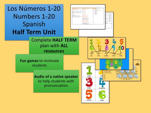 Los Números 1-10 Numbers 1-10 Spanish Half Term Unit