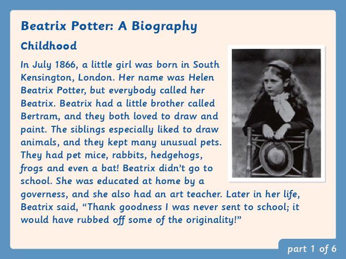 KS2 Biography Comprehension: Beatrix Potter