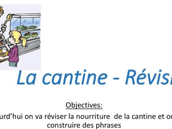 La cantine - Food - du/de la / des - revision