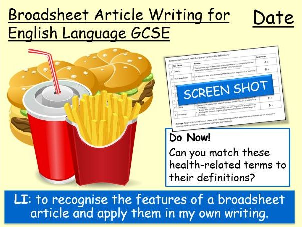 Broadsheet Article Writing for GCSE