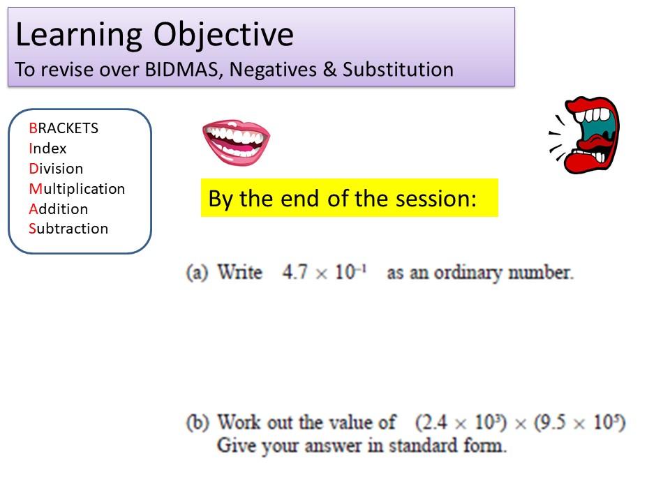 GCSE 1-9 Foundation BIDMAS & Substitution Revision