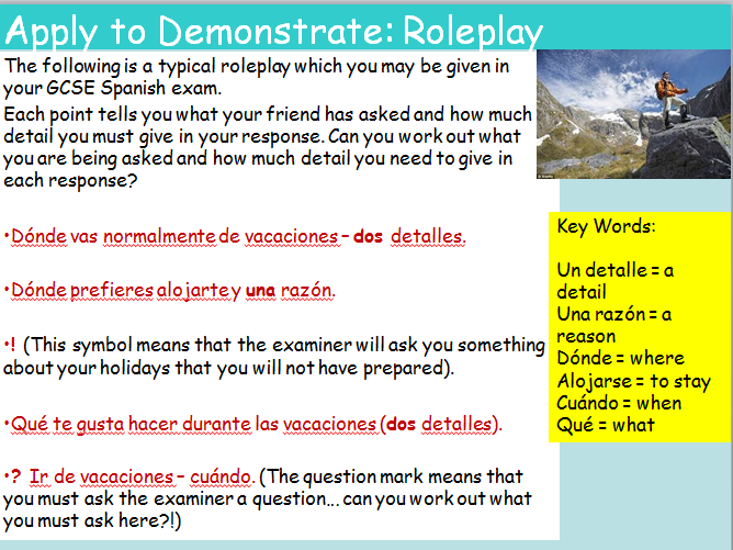 KS3 Spanish Holidays What I like to do and Present Tense