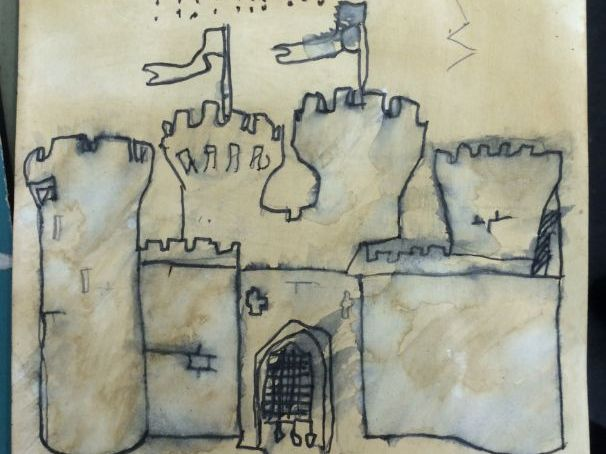 Medieval Pen wash drawing on coffee paper