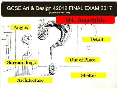 AQA Art and Design GCSE 2017 (42012) - Unit 2 EXAM VISUAL POWERPOINT FOR Q4 ASSEMBLE