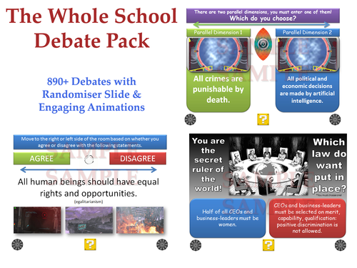 Whole School Debate Pack [Over 1000 Debates!]