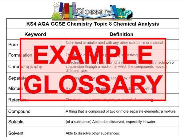 KS4 AQA GCSE Chemistry T8 Chemical Analysis Glossary (Combined or Separate)