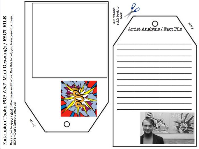 POP ART Extension Task / Starter - mini grid drawing and literacy