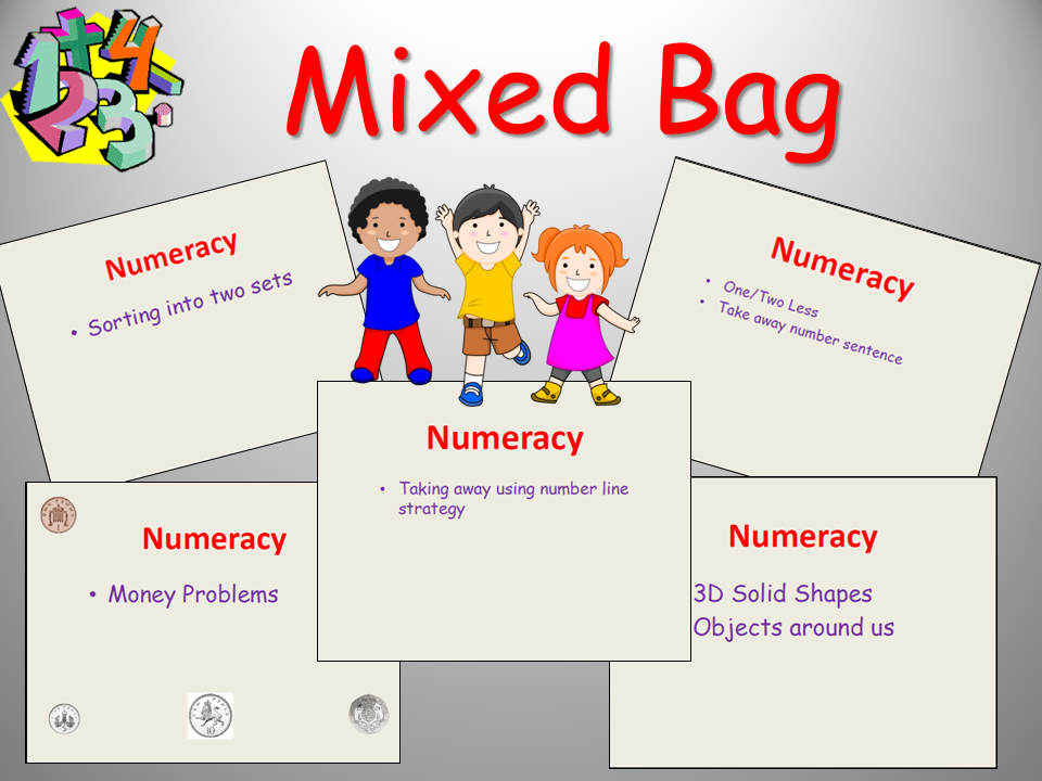 Mixed Bag Maths : Sort Less than/Taking away, Money, 3D Shapes, Subtraction -5 Lessons  YR/Yr1