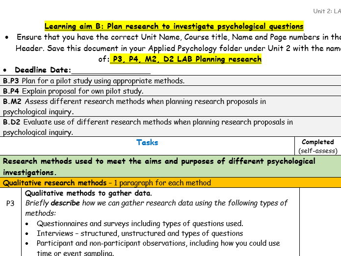 Applied Psychology Unit 2 LAB Conducting Psychological Research Assignment task sheets