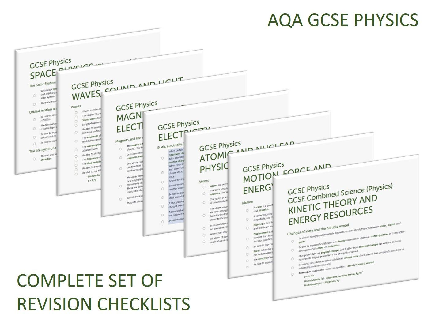 Complete set of Physics revision checklists for GCSE Physics