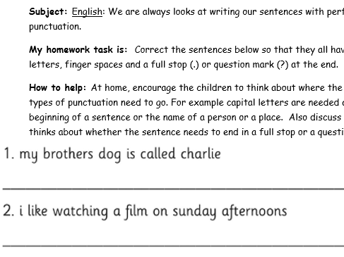 Year 1 Differentiated  SPAG Homework - Correcting Punctuation