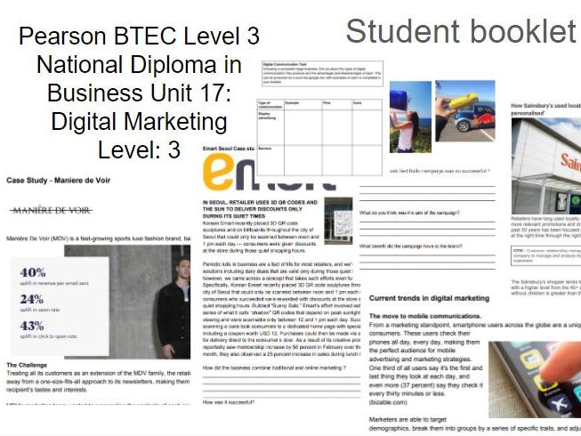 BTEC Level 3 National Diploma in Business Unit 17: Digital Marketing Level: 3 student booklet