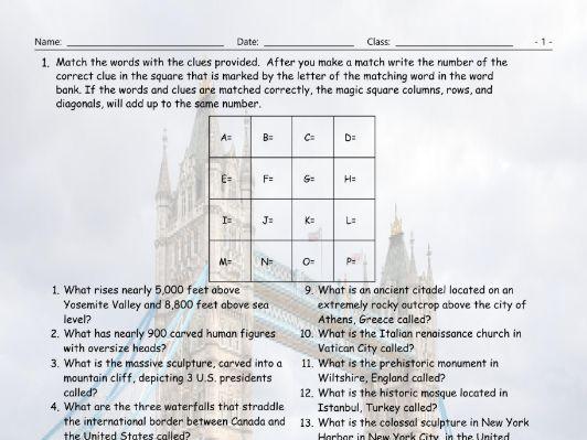 Tourist Attractions Around The World Magic Square Worksheet