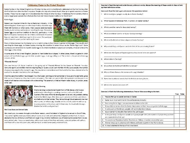 Celebrating Easter in the United Kingdom - Reading Comprehension Worksheet