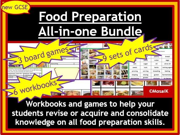 Food Preparation AQA / EDEXCEL: All-in-one Bundle of workbooks, picture cue cards, word cards, board games - focus on food preparation skills