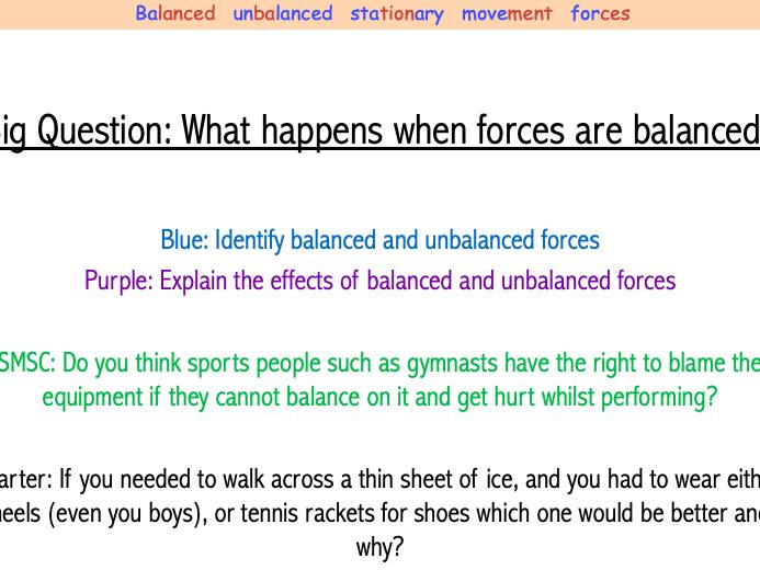 Year 7 Balanced and Unbalanced Lesson (7Ke)
