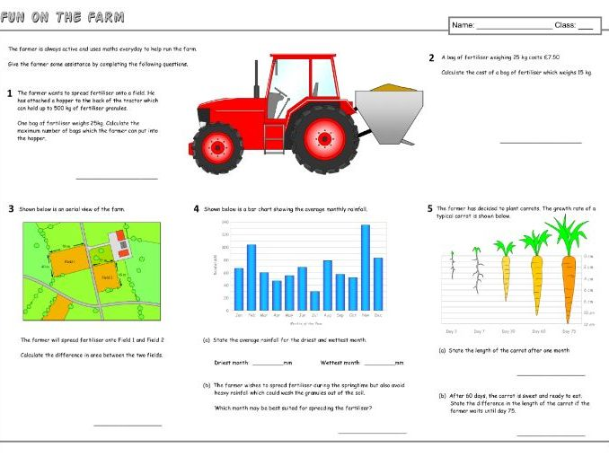 Fun on the Farm (Maths) A3 Worksheet