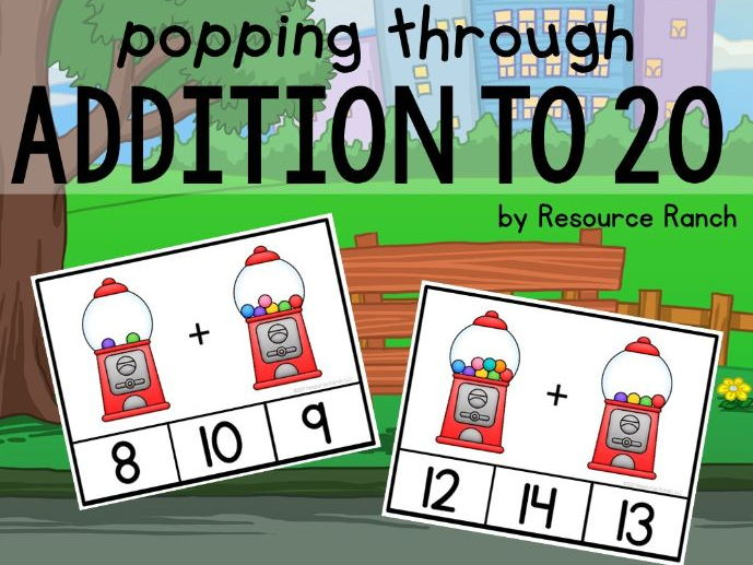 Gumball Addition Clip Cards Math Center