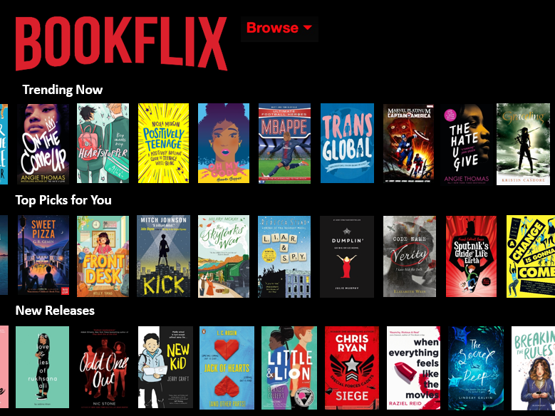 Bookflix - animated display screen for promoting reading