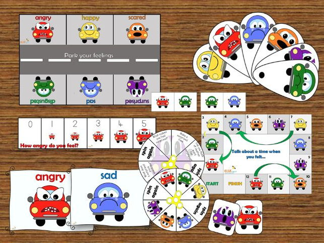Emotional literacy/intelligence pack with a 'car' theme