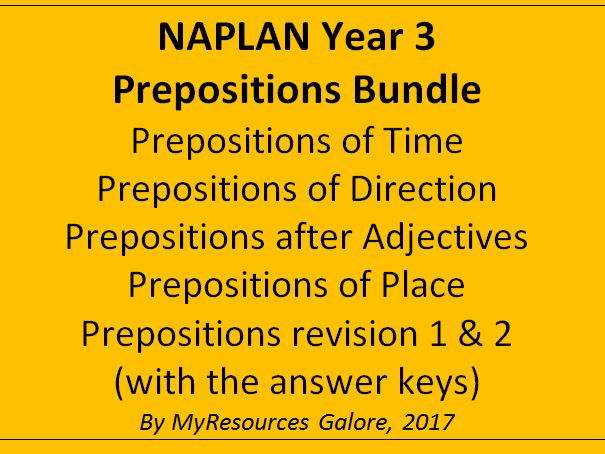 NAPLAN: Year 3 Prepositions Bundle
