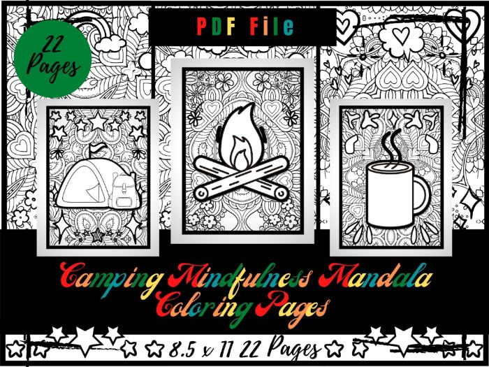 Mindfulness Camping Colouring Pages, Camping Printable Colouring Sheets PDF