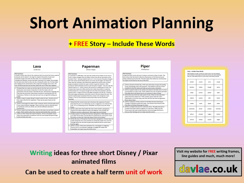 Disney / Pixar Short Animation Planning for KS2 (+ FREE STORY - INCLUDE THESE WORDS)