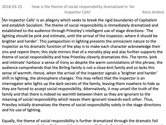 GCSE An Inspector Calls Level 9 Exemplar Essay Social Responsibility