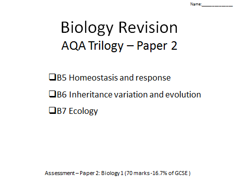 AQA Trilogy Biology revision booklet B5-7