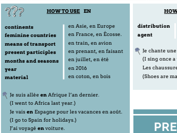 GCSE French revision prepositions