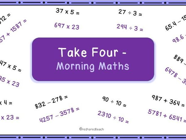 Morning Maths Arithmetic Starter - All Four Operations Fluency Starter for Year 5 and 6.