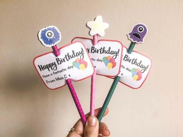 Birthday Pencil Labels