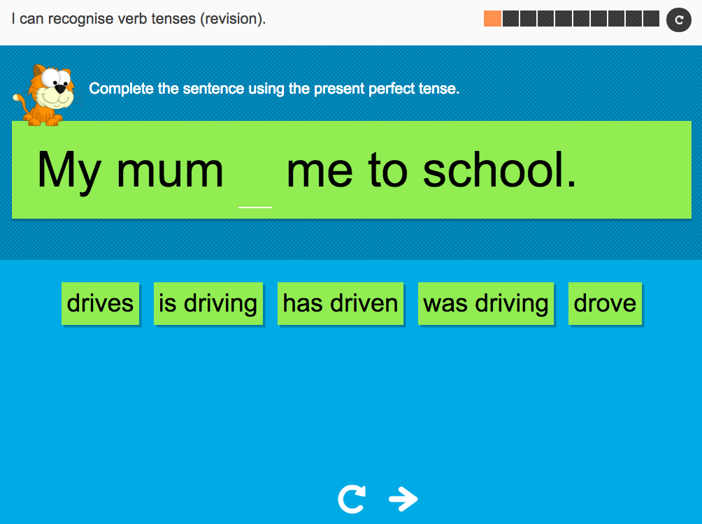 I can recognise verb tenses revision (revision) - Interactive Activity - Year 6 Spag